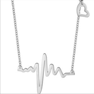 Heartbeat necklace with heart charm in silver